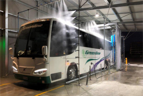 Wrap-around bus wash